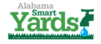 "the words ""Alabama Smart Yards"" displayed on top of an illustration of grass with a drop of water coming out of a spigot"