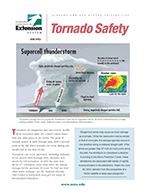 ACES Publication ANR-0983 cover 'Tornado Safety' with an illustration of how a tornado forms and looks on a weather map