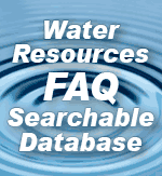 the words 'Water Resources FAQ Searchable Database' superimposed on top of an image of ripples in a body of water