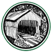 black and white illustration of the entrance to a covered bridge