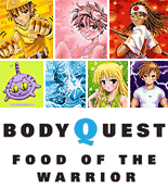 Body Quest - Food of the Warrior image displaying all seven of the cartoon warriors