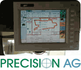 """computer monitor screen showing travel route with the words """"Precision AG"""""""