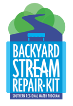 "the words ""Backyard Stream Repair Kit, Souther Regional Water Program"" superimposed on an illustration of a stream starting from a forest winding its way into the foreground"