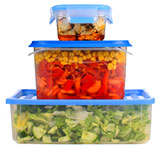 three food storage containers stacked one on top of the other