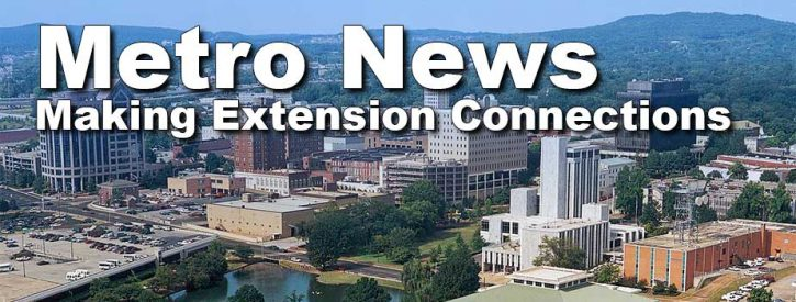 "skyline image of Huntsville with the words ""Metro News: Making Extension Connections"""