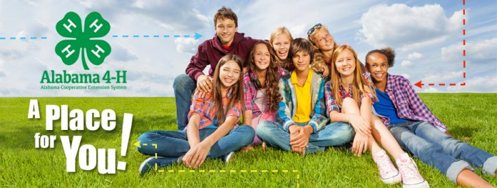 """group of young people sitting on grass with the words"""" A Place for You!"""" welcoming youth to join 4-H"""